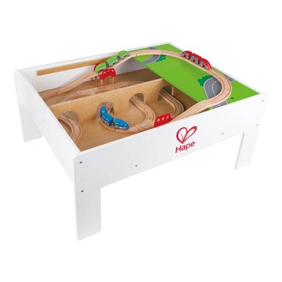 Hape Railway Play and Stow Wooden Train Set Activity & Toy Storage Play Table