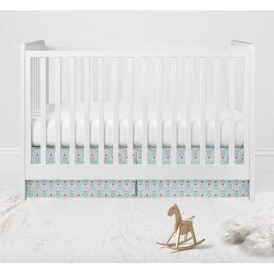 Bacati - Sophia Paisley Aqua/Coral Floret Crib/Toddler Bed Skirt