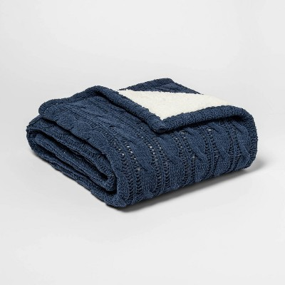 Solid Cable Knit Chenille with Sherpa Reverse Throw Blanket Blue - Threshold™