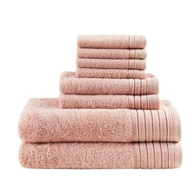 8pc Velvetine Cotton Bath Towel Set Blush