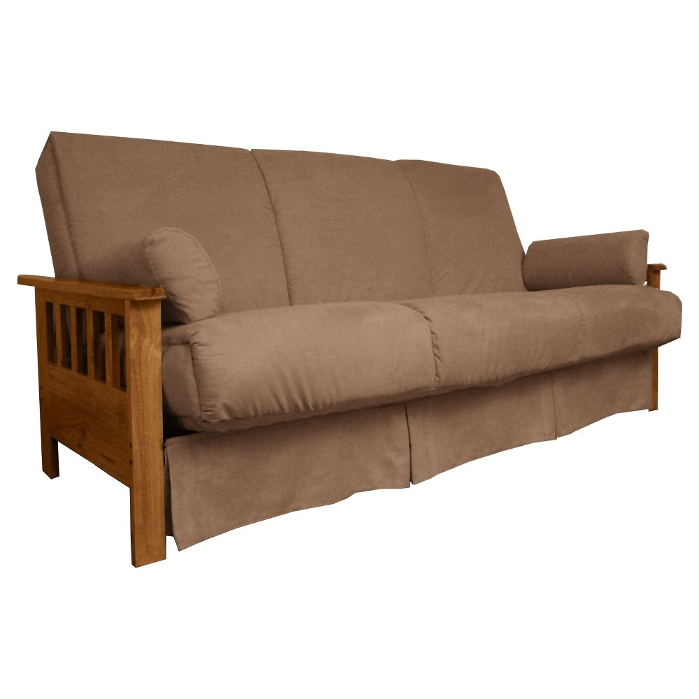 Mission Perfect Convertible Futon Sofa Sleeper - Oak Wood Finish - Epic Furnishings, Pecan