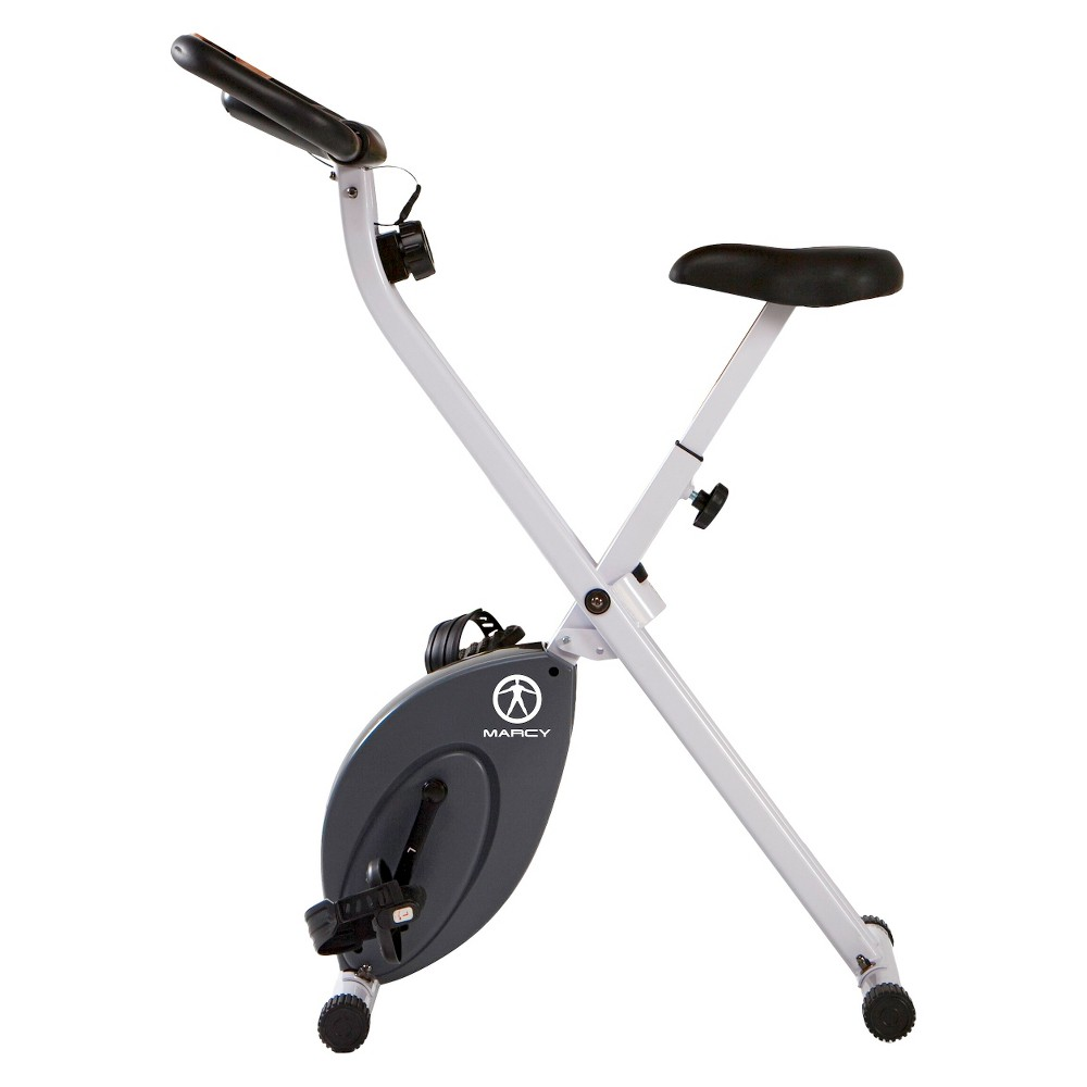 Marcy Foldable Bike (NS652) Start exercising with the Marcy Foldable Exercise Bike! The foldable frame allows for easy and convenient storage. Don't let shortage of storage space prevent you from working out! - Magnetic resistance for smooth pedaling - Counter-weighted pedals with foot straps - Durable steel construction - Padded seat and handle bar for maximum comfort - Folds for space saving storage - Easy to use electronics include time, distance, calories and speed - Rated up to 250 lb. user - Manufacturer's 2 Year Limited Warranty
