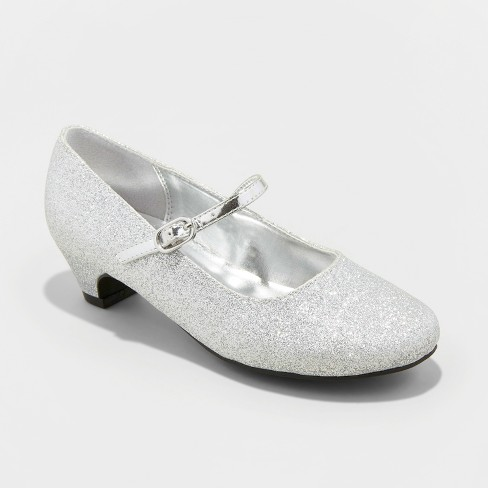 Girls' Flowers by Nina Trevina Mary Jane Shoes - Silver 13 - image 1 of 3