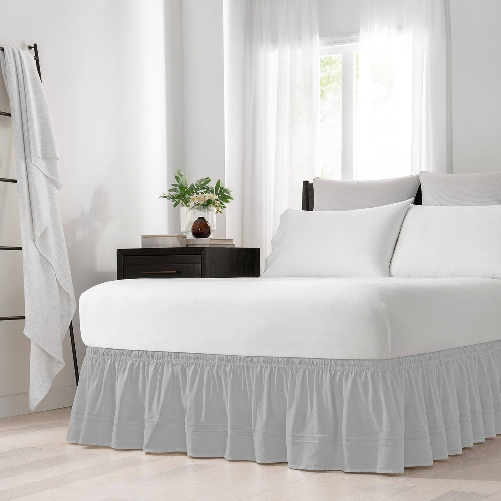 Coupons Gray Wrap Around Baratta Stitch Ruffled Bed Skirt (Queen King) (80 X 60) - EasyFit