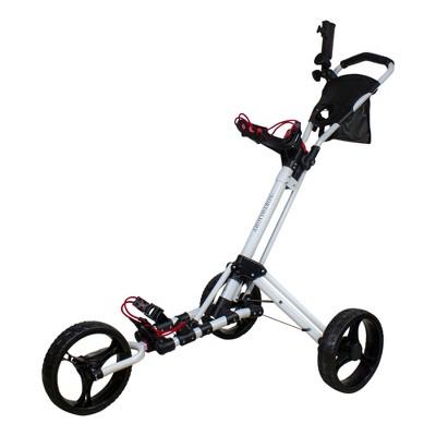 "Northlight 48"" White and Black Easy Folding 3 Wheel Golf Bag Push Cart"