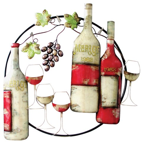 Wall Decor-Circle with Wine Bottles - Home Source - image 1 of 2