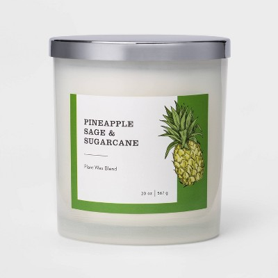 20oz Milky Glass Jar 3-Wick Candle Pineapple Sage & Sugarcane - Threshold™