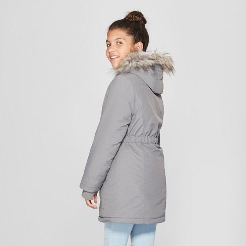 3776ba04ac3 Girls  Parka Jacket - Cat   Jack™ Gray   Target