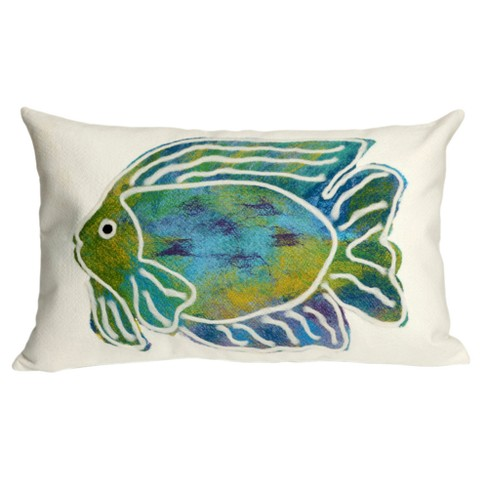 "Aqua Batik Fish Throw Pillow (12""x20"") - Liora Manne - image 1 of 1"