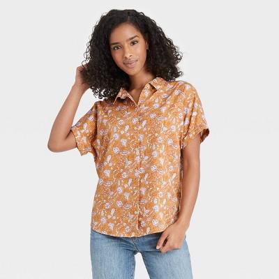 Women's Dolman Short Sleeve Button-Down Shirt - Universal Thread™