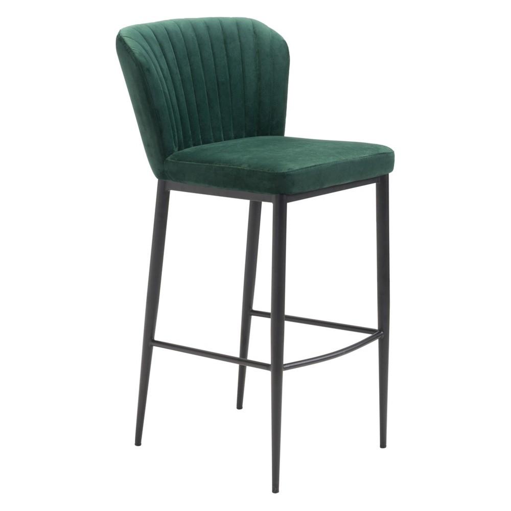 Art Deco Set of 2 Velvet Bar Chairs Green - ZM Home