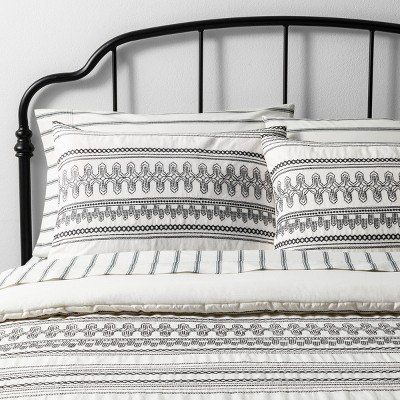 Full/Queen Embroidered Comforter Set Railroad Gray / Sour Cream - Hearth & Hand™ with Magnolia