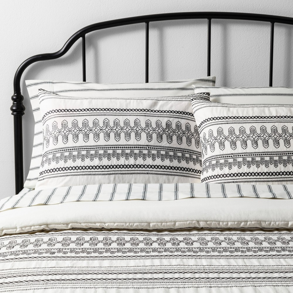 Low Price King Comforter Set Embroidered Railroad Gray Sour Cream Railroad GraySour Cream Hearth Hand With Magnolia