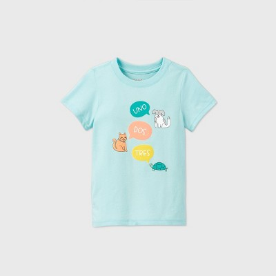 Toddler Kids' Short Sleeve 'Uno Dos Tres' Animals Graphic T-Shirt - Cat & Jack™ Aqua 2T