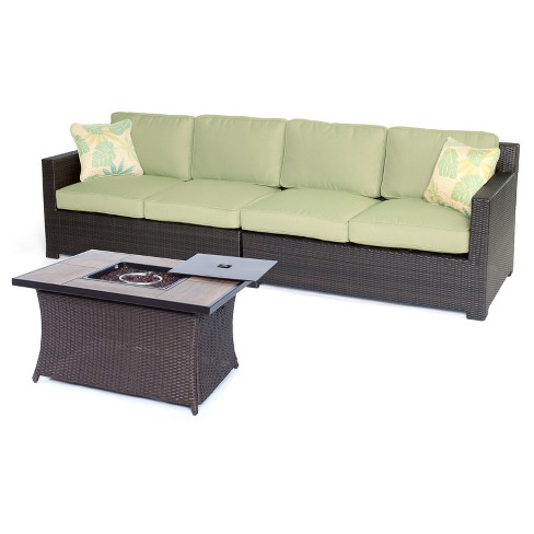Haven 3pc All-Weather Wicker Patio Loveseat with Woven Fire Pit - Green - Hanover - image 1 of 8