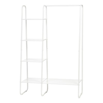 IRIS Metal Garment Rack with Metal Mesh Shelves