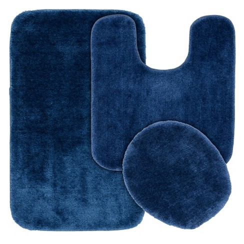Washable Nylon Bath Rug Set Navy