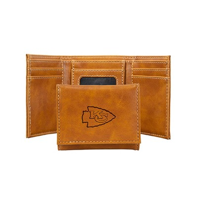 Nfl Kansas City Chiefs Laser Engraved Brown Leather Trifold Wallet by Nfl