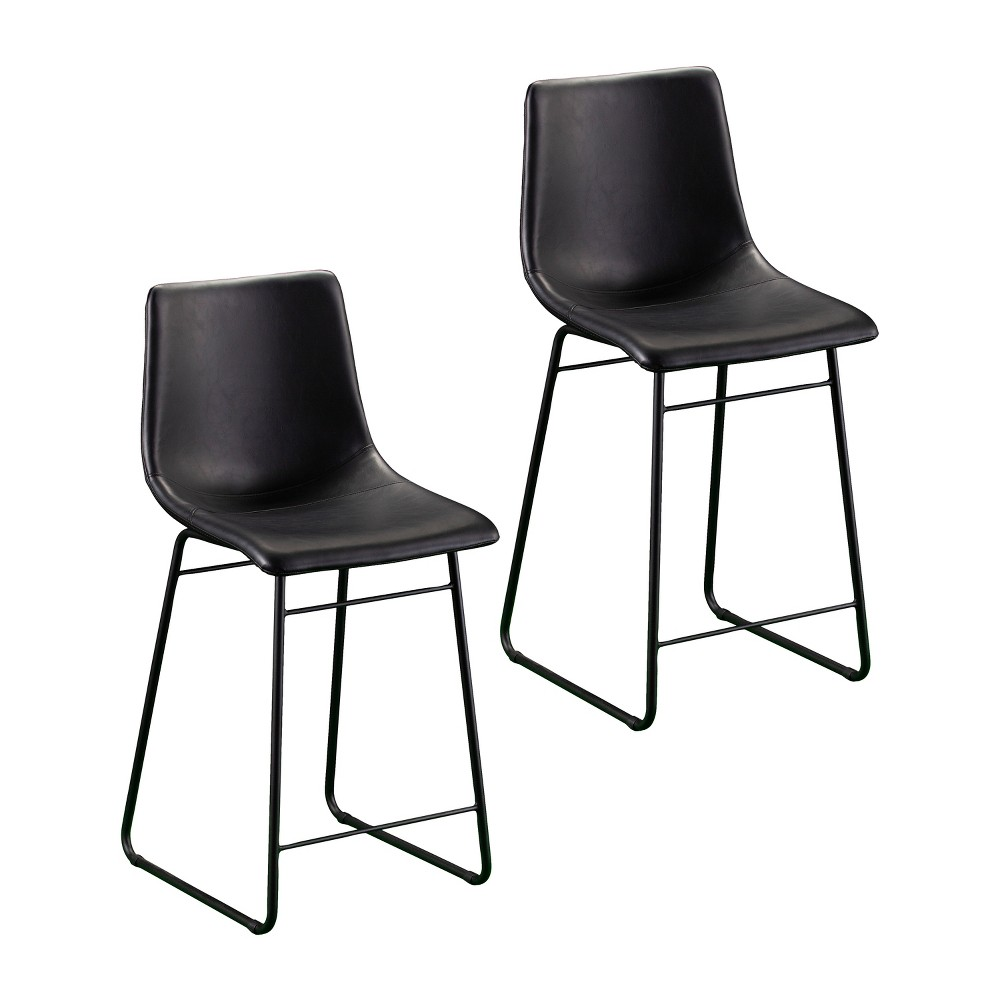 Set of 2 Malcolm Faux Leather Counter Stools Black - Aiden Lane
