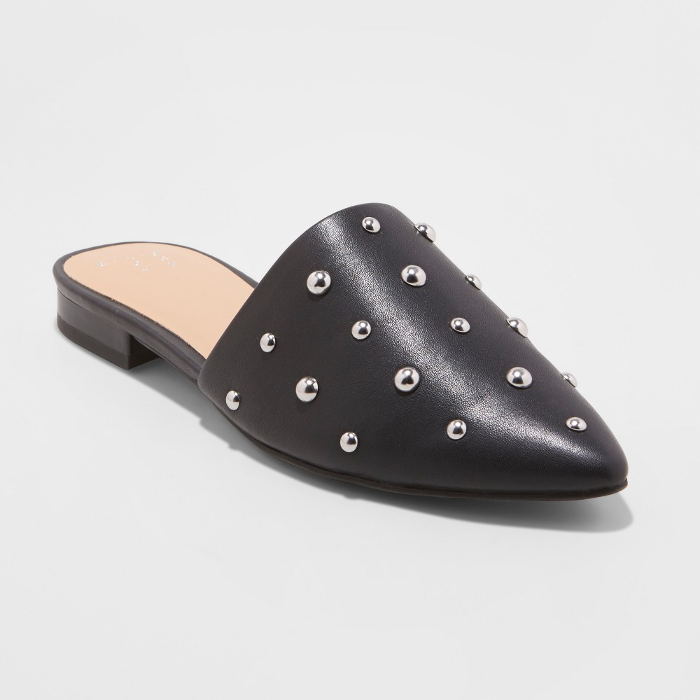 Women's Kari Studded Mules - A New Day Black 6