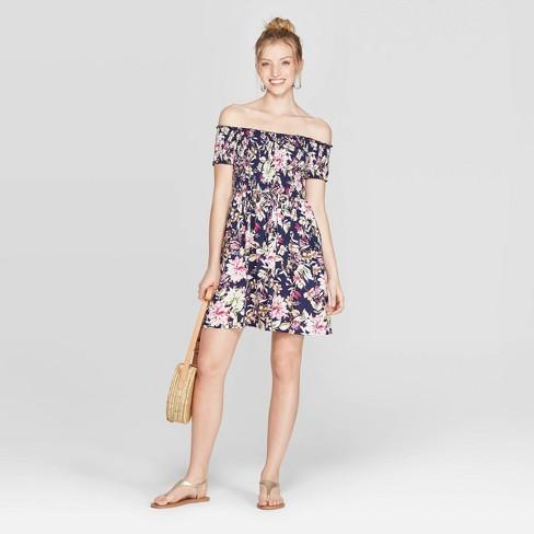 Women's Floral Print Short Sleeve Off the Shoulder Smocked Top Dress - Xhilaration™ - image 1 of 8