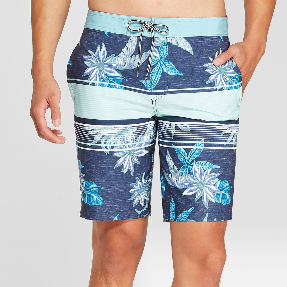 Men's 10 Floral Print Trails Board Shorts - Goodfellow & Co Deep Ocean 32, Blue