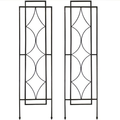 "48.25"" Chic Diamonds Design Steel Garden Plant Trellis - Set of 2 - Sunnydaze Decor"