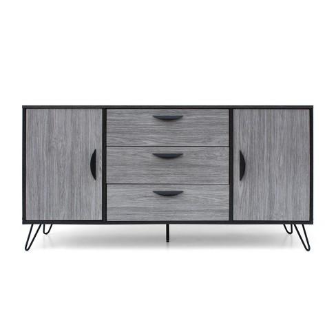 Sincere Mid Century Modern Multipurpose Cabinet Sonoma Gray Oak