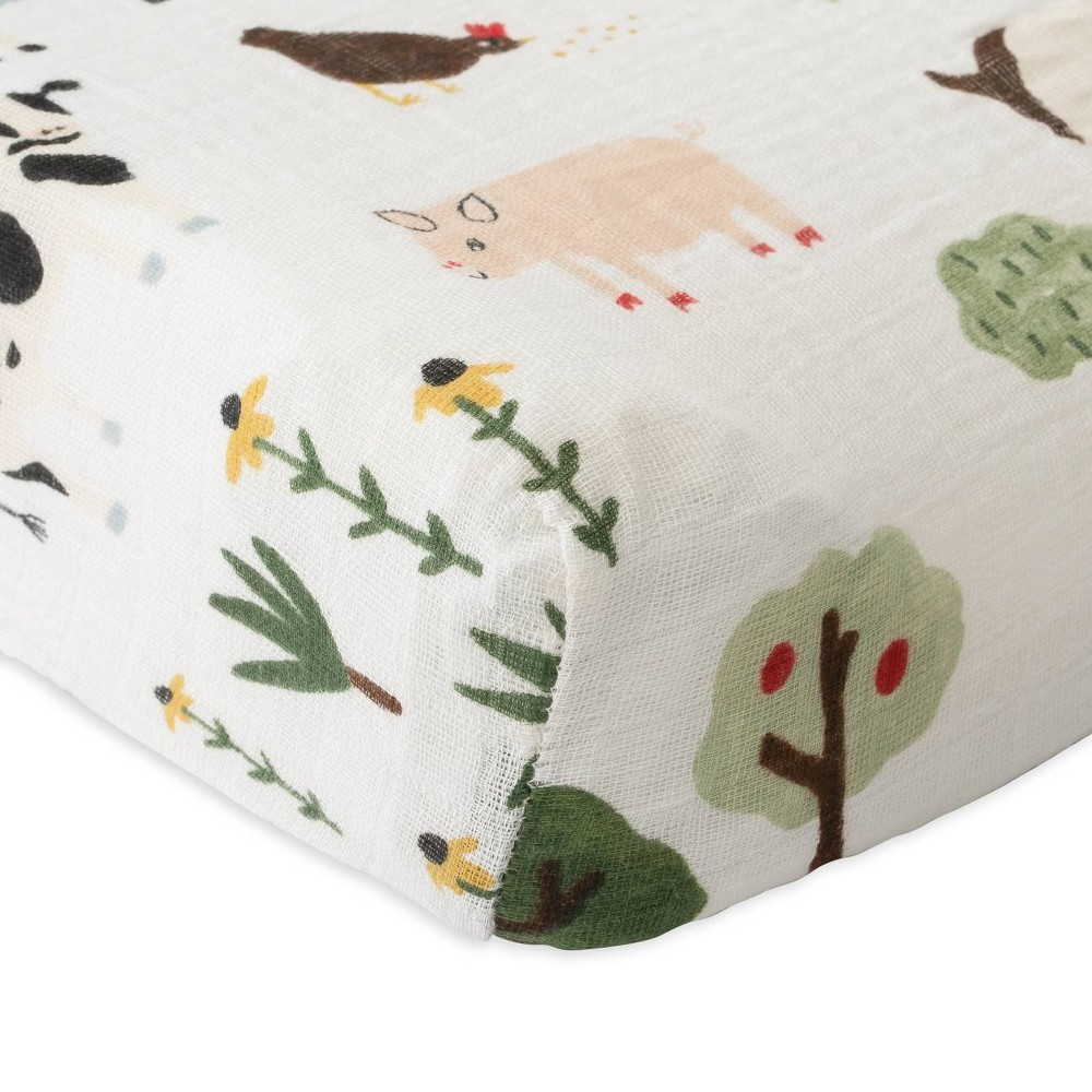 Image of Red Rover Cotton Muslin Changing Pad Cover - Family Farm