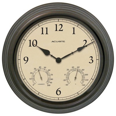 "15"" Outdoor / Indoor Wall Clock with Thermometer and Humidity - Weathered Bronze Finish - Acurite"