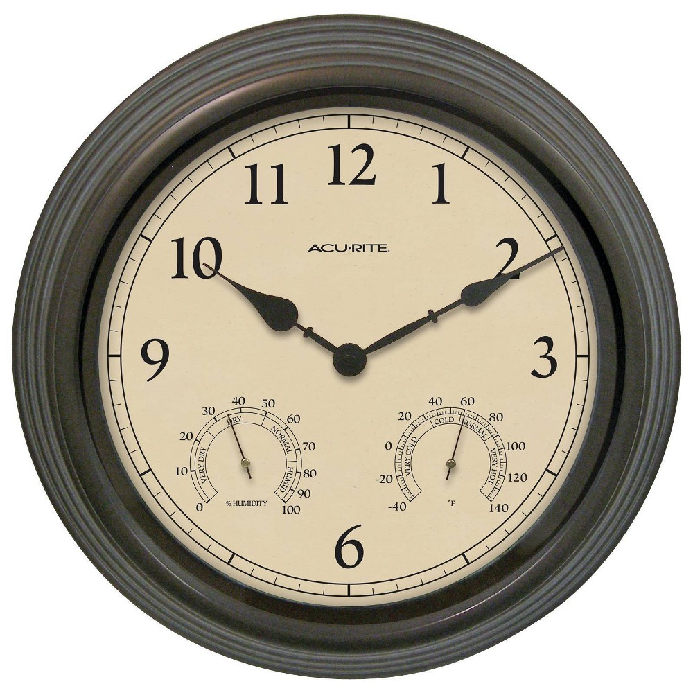 "Image of ""15"""" Outdoor / Indoor Wall Clock with Thermometer and Humidity - Weathered Bronze Finish - Acurite"""