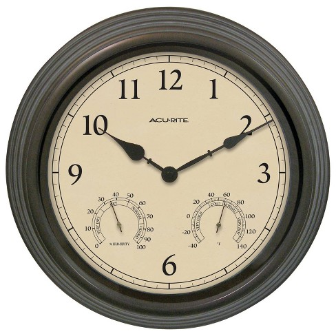 """15"""" Outdoor / Indoor Wall Clock with Thermometer and Humidity - Weathered Bronze Finish - Acurite - image 1 of 3"""