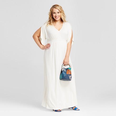 Maternity Plus Size Kimono Sleeve Dress - Isabel Maternity by Ingrid &  Isabel™ White 4X