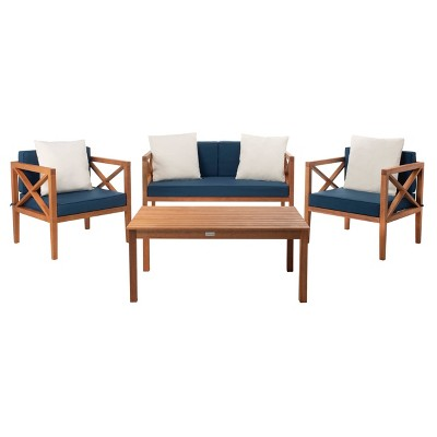 Nunzio 4pc Outdoor Set With Accent Pillows - Natural/Navy - Safavieh