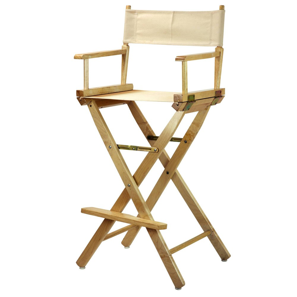 Bar Height Director S Chair Natural Frame Beige Canvas
