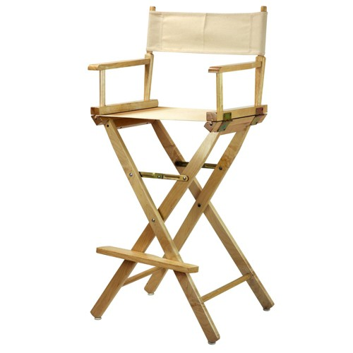 Bar-Height Director's Chair - Natural Frame, Beige Canvas, Wheat/Naural