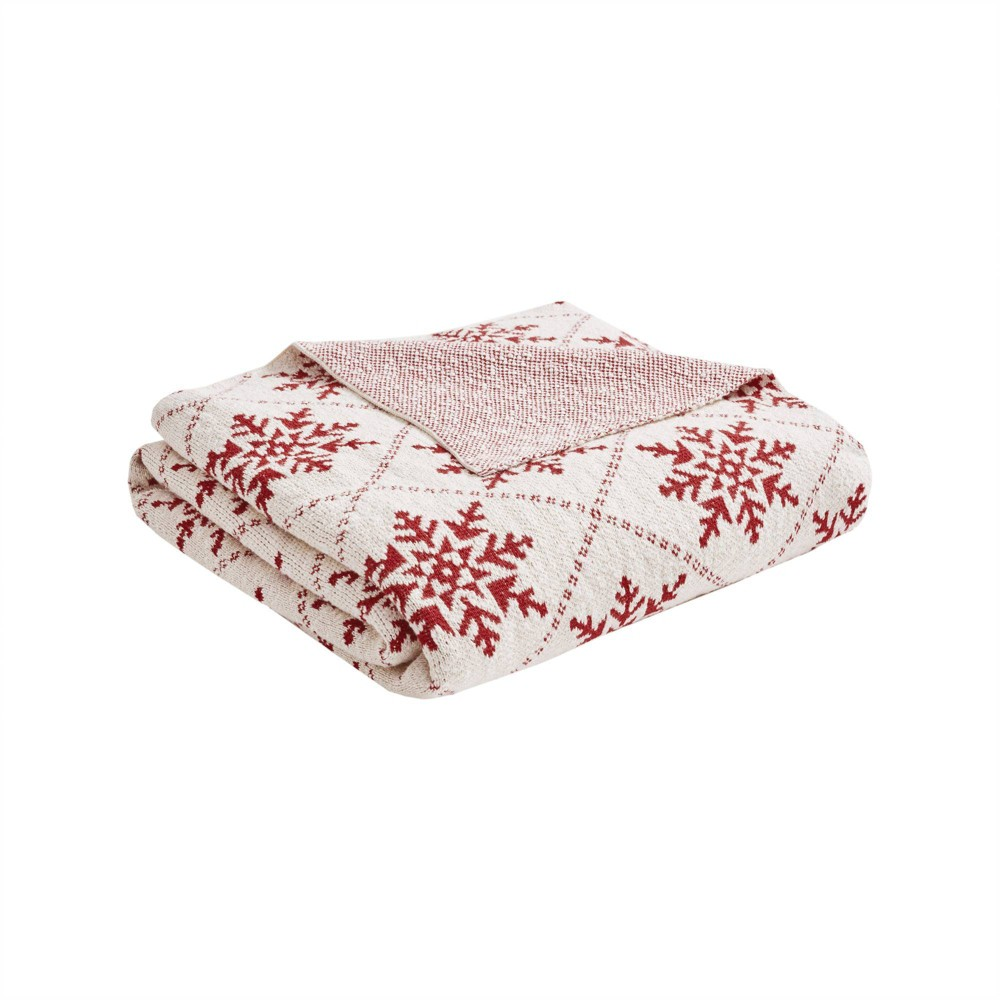 """Image of """"50"""""""" x 60"""""""" Frost Cotton Knit Throw White/Red"""""""