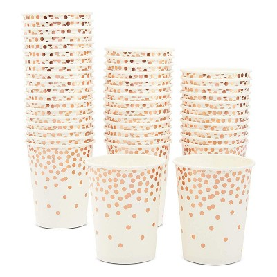 Sparkle and Bash 50-Pack Disposable Paper Cups with Rose Gold Confetti Foil 9 oz Party Supplies