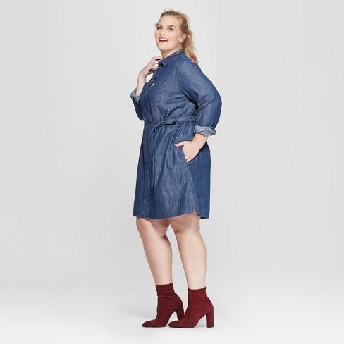 Women\'s Plus Size Denim Shirtdress - Ava & Viv™ Indigo : Target