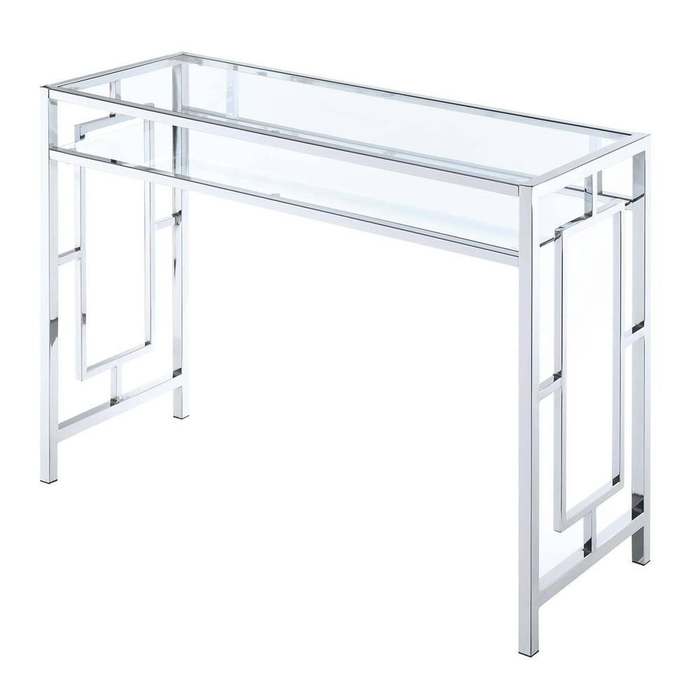 Town Square Chrome Desk with Shelf Glass/Chrome - Johar Furniture Town Square Chrome Desk with Shelf Glass/Chrome - Johar Furniture