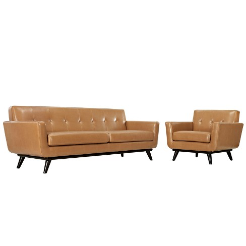 Engage 2pc Leather Living Room Set Tan - Modway - image 1 of 6