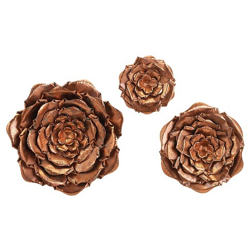 Aurora Copper Flowers Decorative Wall Sculpture - Set of 3 : Target
