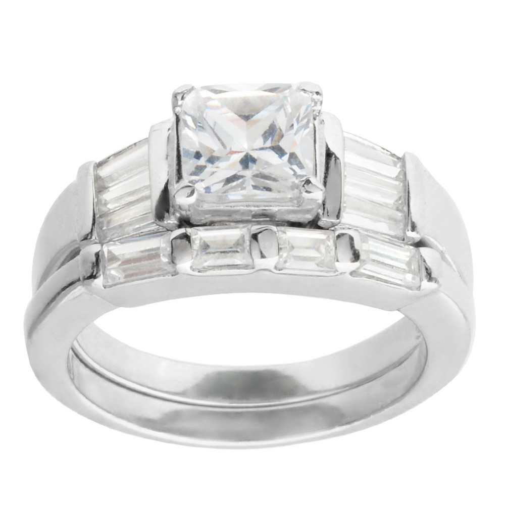 2 1/3 CT. T.W. Princess-Cut Cubic Zirconia Basket Set Engagement Ring Set in Sterling Silver - Silver (8)