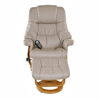 Plush 8 motor massage Leisure Recliner with Ottoman Beige - Relaxzen