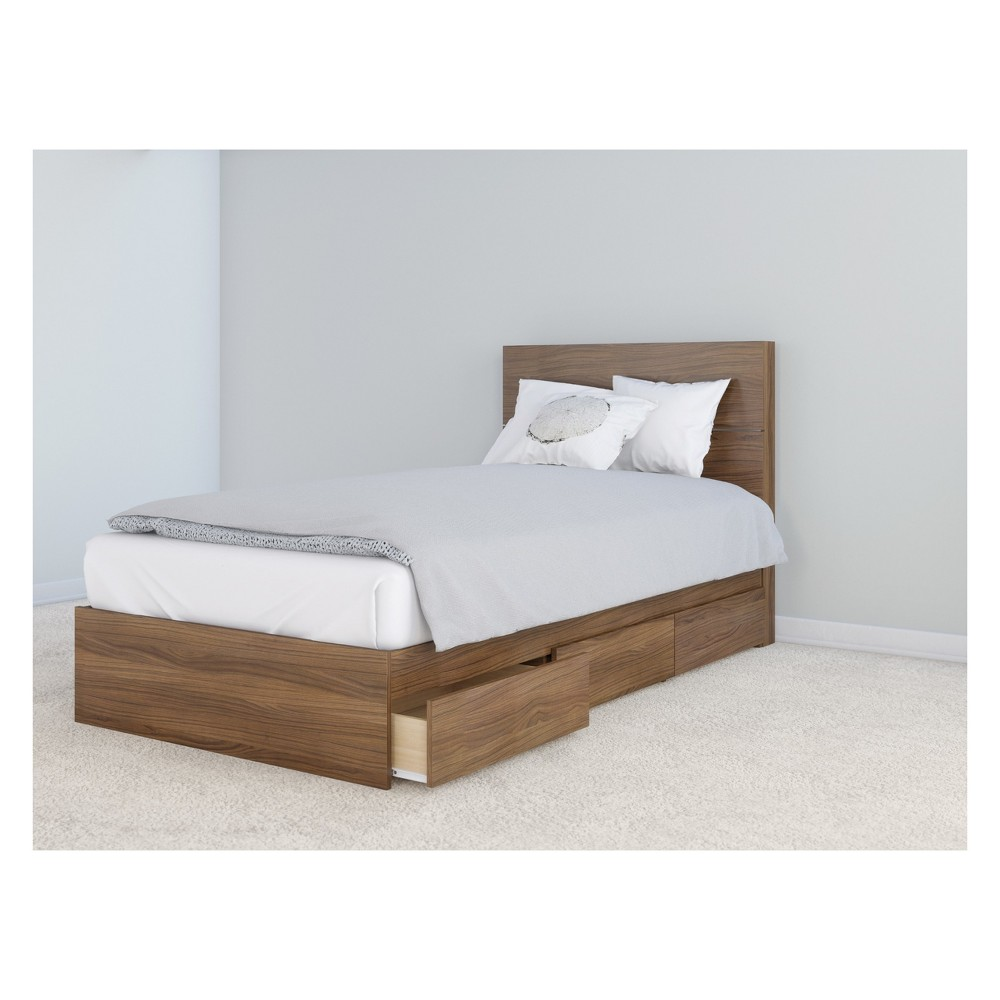 Mystic Storage Bed and Headboard Twin Walnut (Brown) - Nexera