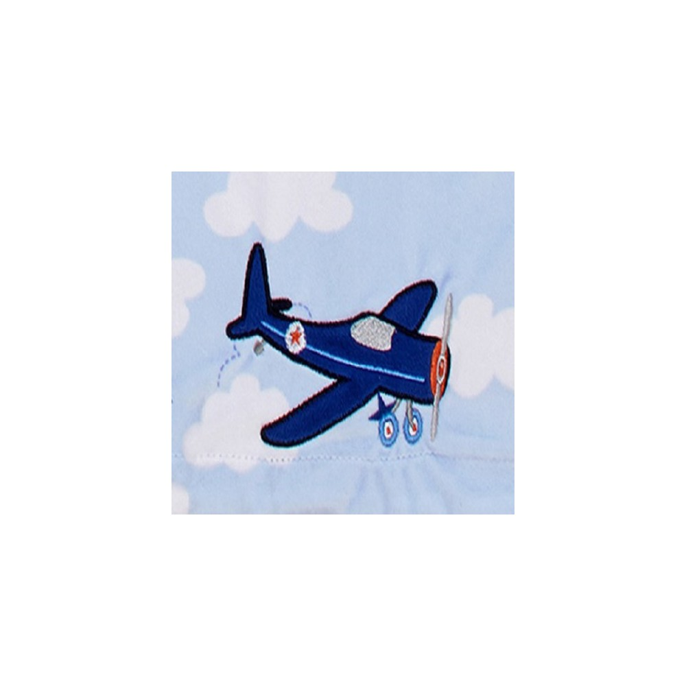 Image of Carter's Take Flight Airplane/Cloud Applique Baby Blanket, Blue