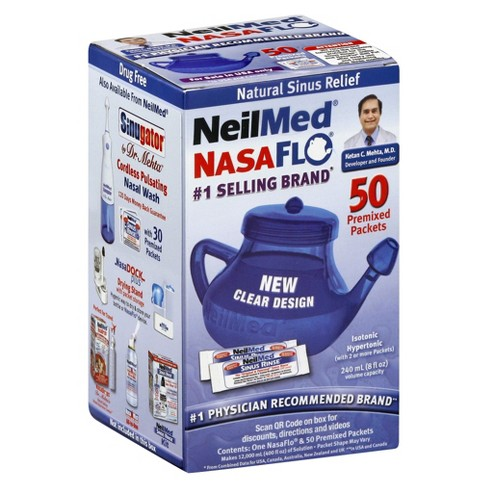 NeilMed NasaFlo Neti Pot Sinus Relief with Premixed Packets - 50ct