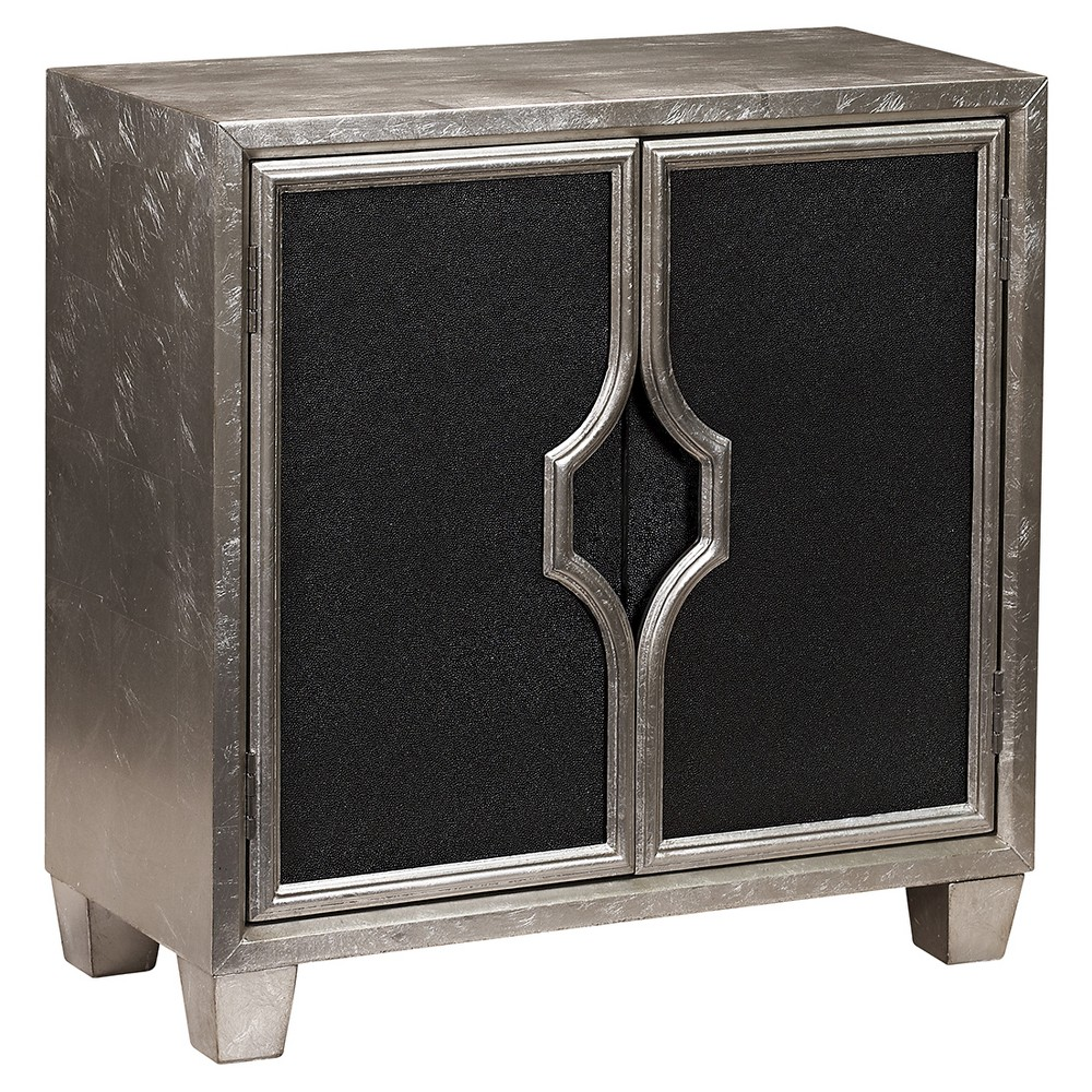 Hampton Accent Storage Console with Two Doors Distressed Silver with Black - Pulaski