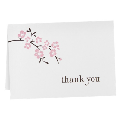 Cherry Blossom Thank You Cards (50ct), White