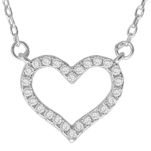 dc7d0a7cc0a 1 2 CT. T.W. Round-cut CZ Pave Set Heart Pendant Necklace In Sterling Silver  - Silver (18